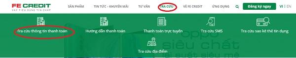 Tra cứu thông tin khoản vay FE Credit trên website