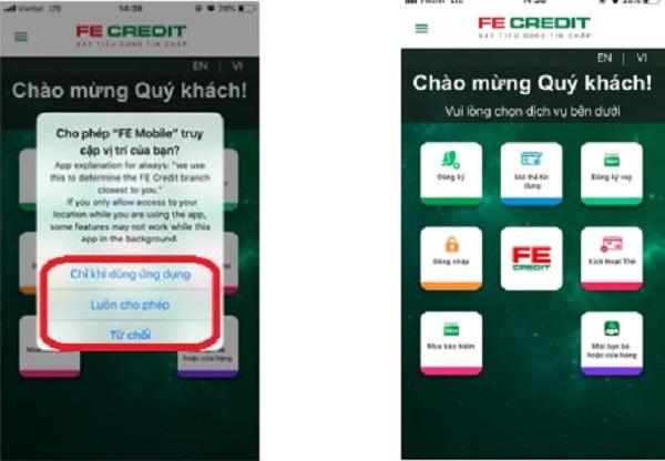 Yêu cầu truy cập vị trí và màn hình chính của ứng dụng