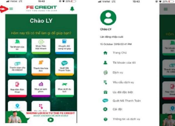 Danh sách các chứng năng của ứng dụng và thông tin chủ tài khoản thẻ