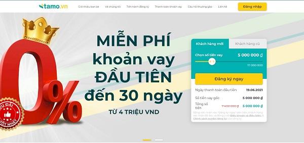 Tamo miễn phí khoản vay đầu tiên đến 30 ngày.