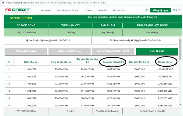Tổng số tiền còn lại phải thanh toán theo thông báo trên website của FE Credit
