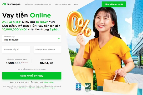 Cách vay Online Cashwagon tới 10 triệu 0% lãi suất