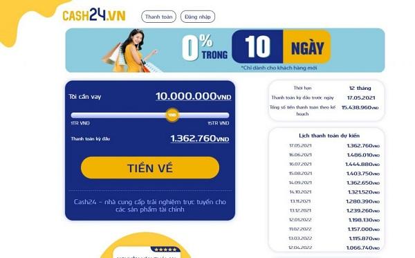 Hướng dẫn cách vay Online Cash24 lên đến 15 triệu