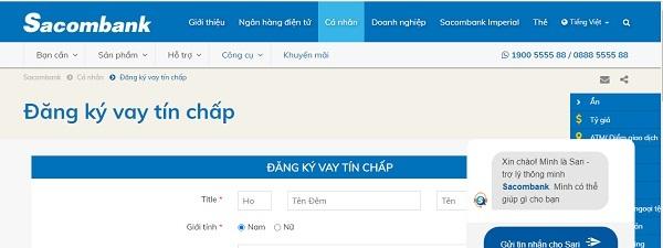 Cách vay tiền tín chấp online trên website Sacombank