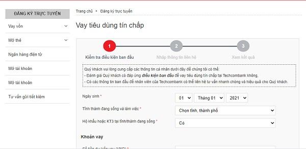 Vay tiền tín chấp online Techcombank